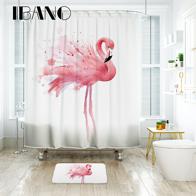 IBANO Flamingo Shower Curtain Waterproof Polyester Fabric Bath For The Bathroom With 12 Pcs Plastic