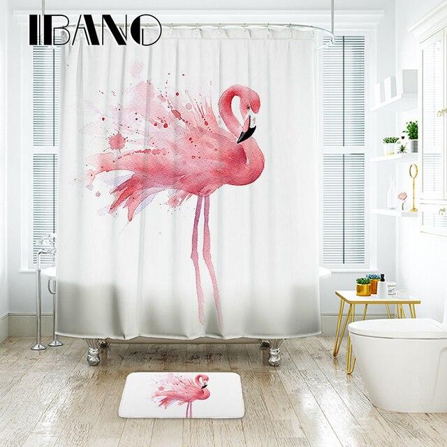 IBANO Flamingo Tenda Della Doccia Impermeabile Tessuto In Poliestere Bagno Tenda