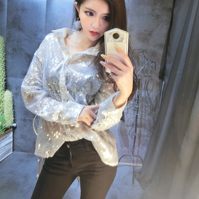 Collar Mujeres Botón Manga Rugod Blusas Blusa Tops 2018 Black Lentejuelas Moda Camisas Larga Primavera Sólidos Y Abajo white qqwU0f