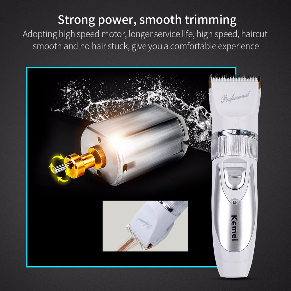 110V-240V Titanium Blade Kemei Electric Hair Trimmer Hair Clipper Cutting Machine + 4 limit combs for Men & Children -P00 110 240v low noise rechargeable hair trimmer titanium blade 0 8 2 0mm adjustable hair clipper with 4 limit comb km 6688 s43