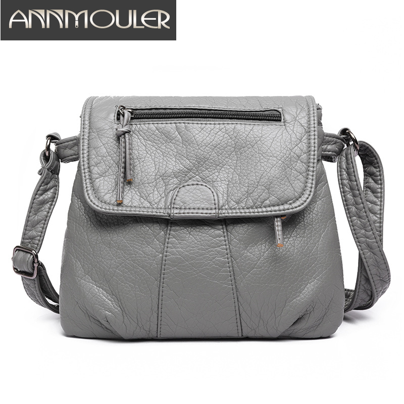 Annmouler Brand Women Bags Soft PU Leather Clutch Bags Vintage Washed Leather Shoulder Messenger Bag Black Small Crossbody Bag