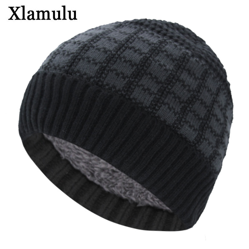 Xlamulu Brand Fashion Men Skullies Beanies Knitted Hat Winter Hats For Women Warm Male Gorros Bonnet Caps Thicken Beanies Hats