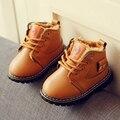 Novos Sapatos de Bebê Inverno Botas de Neve Meninos Meninas Plush Forrado PU Crianças Sapatos Crianças Sneakers Martin Apartamentos Botas de Couro À Prova D' Água