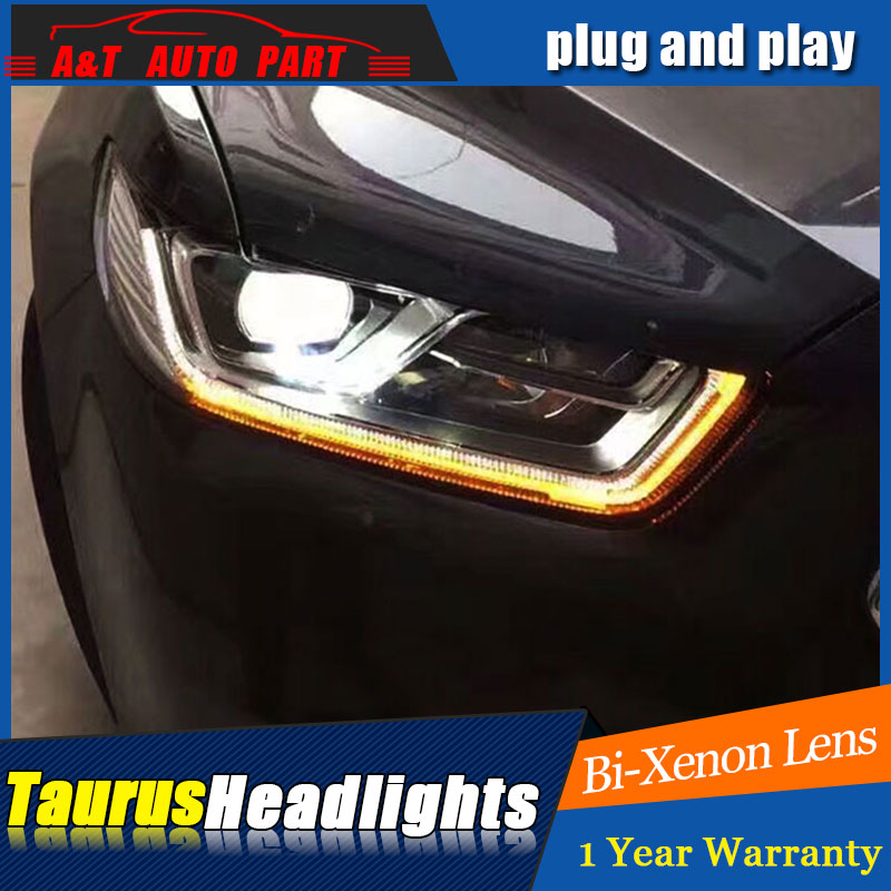 Auto part Style LED Head Lamp for Ford Taurus led headlights 15-16 for Taurus drl H7 hid Bi-Xenon Lens angel eye low beam hireno headlamp for mercedes benz w163 ml320 ml280 ml350 ml430 headlight assembly led drl angel lens double beam hid xenon 2pcs