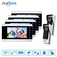 JeaTone 7 Inch Door Phone 4 Color Video Doorbell Monitor 2 High Resolution IR Night Outdoor