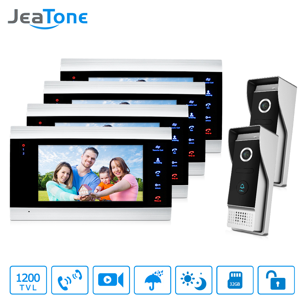JeaTone 7 Inch Door Phone 4 color Video Doorbell monitor&2 High Resolution IR Night Outdoor Camera Home security Intercom System jeatone 7 lcd monitor wired video intercom doorbell 1 camera 2 monitors video door phone bell kit for home security system