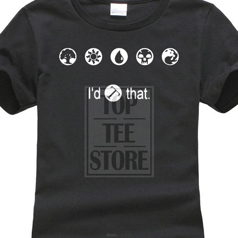 Interesting Sleeves Cotton T-Shirt Fashion Magic The Gathering Funny ID Tap That T Shirt ...
