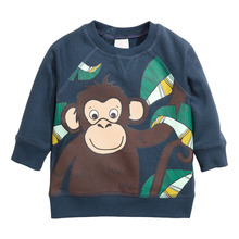 Little Maven Brand 2017 Fashion Long Sleeve Autumn Navy T shirt For Boys With Cartoon Monkey Pattern T shirt For Children