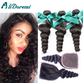 Peruvian Loose Wave With Closure 3 Hair Bundles With Lace Closures Peruvian Virgin Hair With Closure Human Hair With Closure