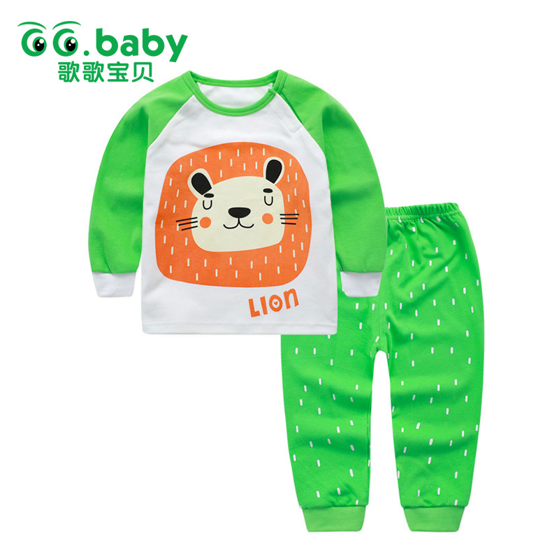 Baby Boy Set Clothes Winter Baby Lion Girl Sets Clothing Cotton New Born Long Sleeve Pajamas Set Baby Outfit Girls Toddler Suits 2pcs children outfit clothes kids baby girl off shoulder cotton ruffled sleeve tops striped t shirt blue denim jeans sunsuit set