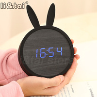 Cute Rabbit Silicone Electronic Wooden table clock LED Wooden Alarm Clocks Cartoon Calendar Perfection Voice Control for kid's