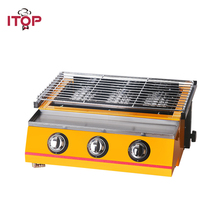 ITOP Gas BBQ Grills ,infrared gas burner churrasqueira, 3 Burners Barbecue Tools For Outdoor Camping Food Processors