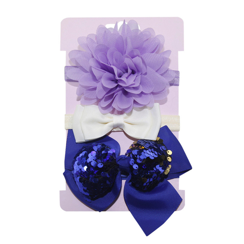 Headwear Baby Girls Hairbands 3Pcs Kids Elastic Floral Headband Baby Girls Sequins Bowknot Hairband Set tiara infantil #4S12 (14)