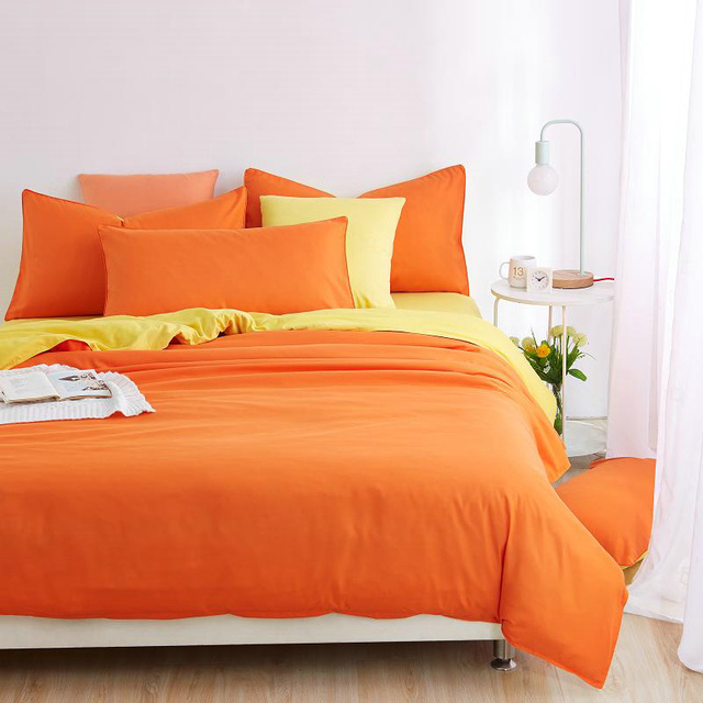 Solid Orange Bedding Set With Yellow Bed Sheets Cheap Twin Full Queen Size  Bed Set Linen