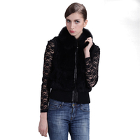 Ladies' Real Natural Rabbit Fur Vest Fox Fur Collar Women Fur Sweater Waistcoat Female Gilet TFM 191
