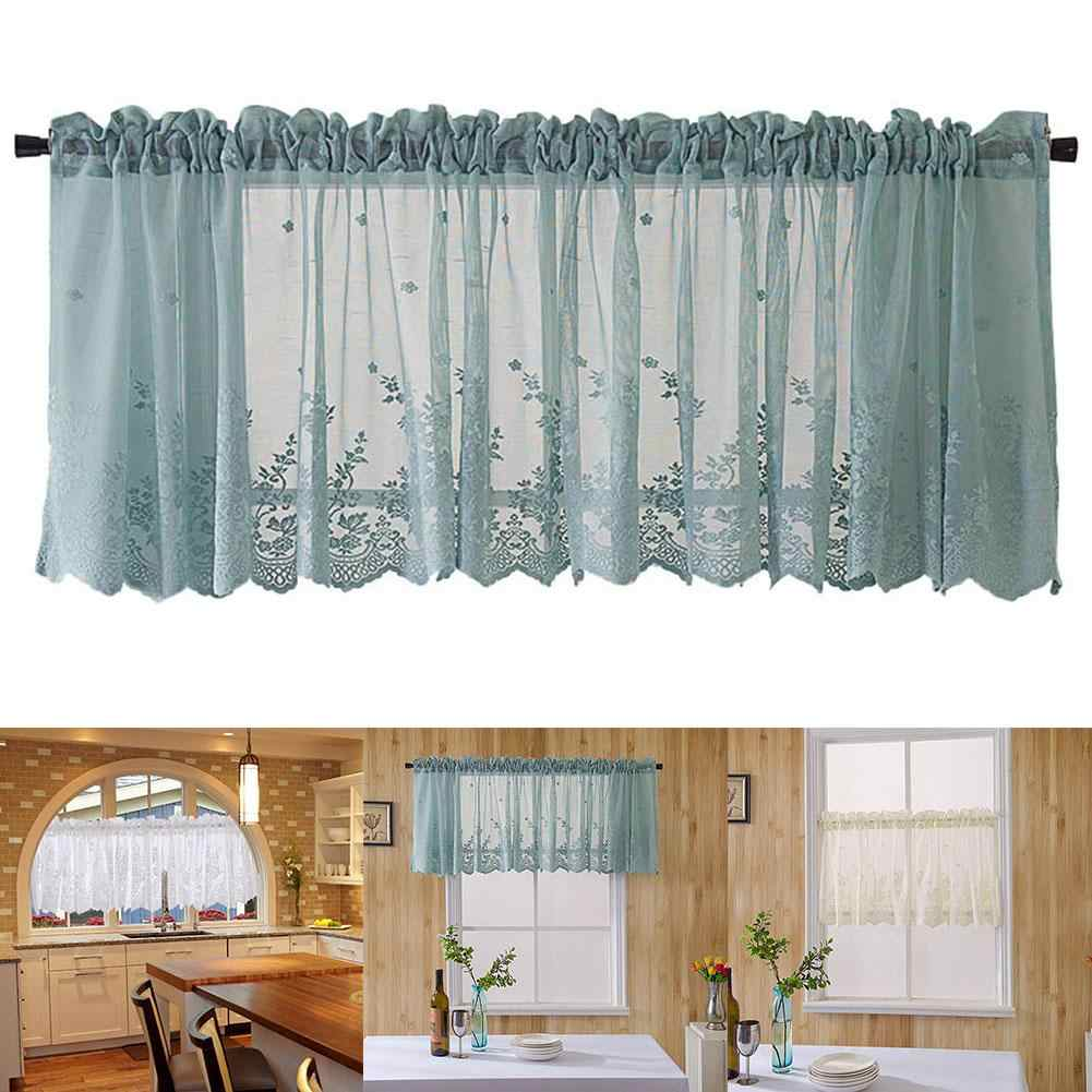 Draping Curtains Mesh Lace Flower Window Balcony Short Curtain Kitchen Valance Drape Home Decor