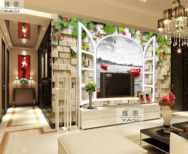 48d Stereoscopic Large Living Room TV Backdrop Wall Mural Wallpaper Non Woven Wall Covering Seamless Minimalist Window Yacht On Aliexpress Best Large Living Room Window Minimalist