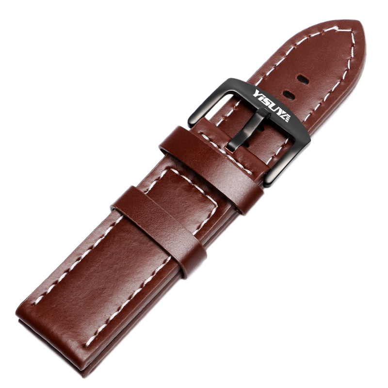 YISUYA Band Smooth 24mm Brown High Quality Stainless Steel Pin Buckle Watch band Replacement Genuine Leather Soft Bracelet suunto core brushed steel brown leather