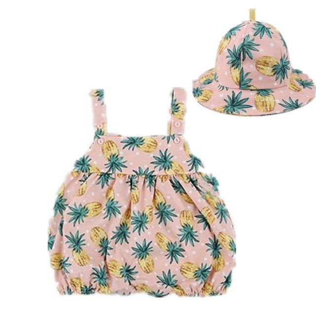 d1da9056178f Newborn Baby Clothes Girl Summer 2018 Button Pineapple Print Cotton ...