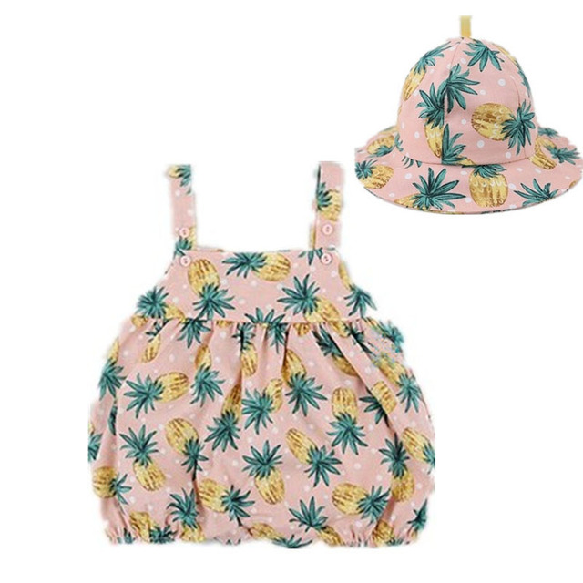 Newborn Baby Clothes Girl Summer 2019 Button Pineapple Print Cotton Romper Cute Openable Jumpsuit + Hat  Two Pieces Baby Rompers