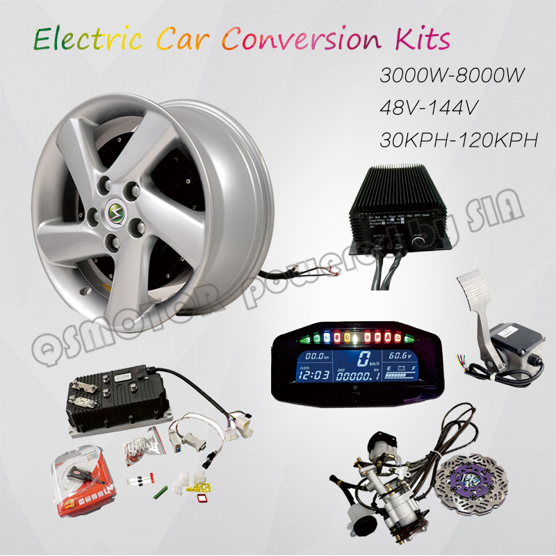 Qsmotor 4000w 273 50h V3 Bldc Brushless Electric Car Hub Motor Hybrid Conversion Kits With Kelly