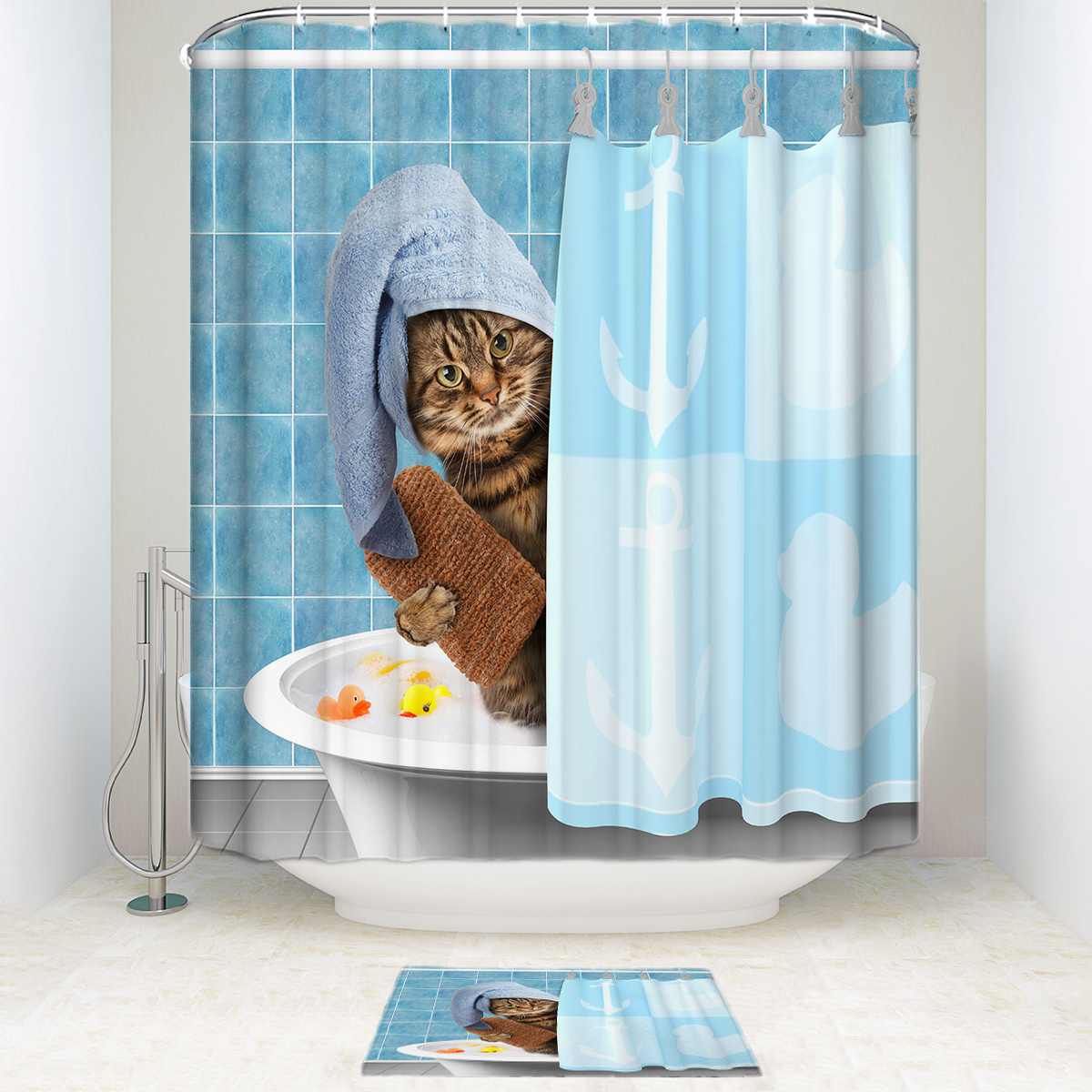 Detail Feedback Questions About Cute Cat Shower Curtain And Mat Set Funny Animal Waterproof Fabric Bathroom On Aliexpress