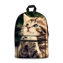 Canvas Backpack Black Daypack laptop Bag Cute Cat Design for Boys Girls School Bag laptop