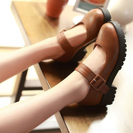 Eagsity Retro Brown Mary Jane Shoes Women Block Heels Round Toe Buckle Strap Ladies Shoes For Party Cartoon Cosplay Dress Loafers Shoes Casual Loaferswomen Casual Loafers Aliexpress