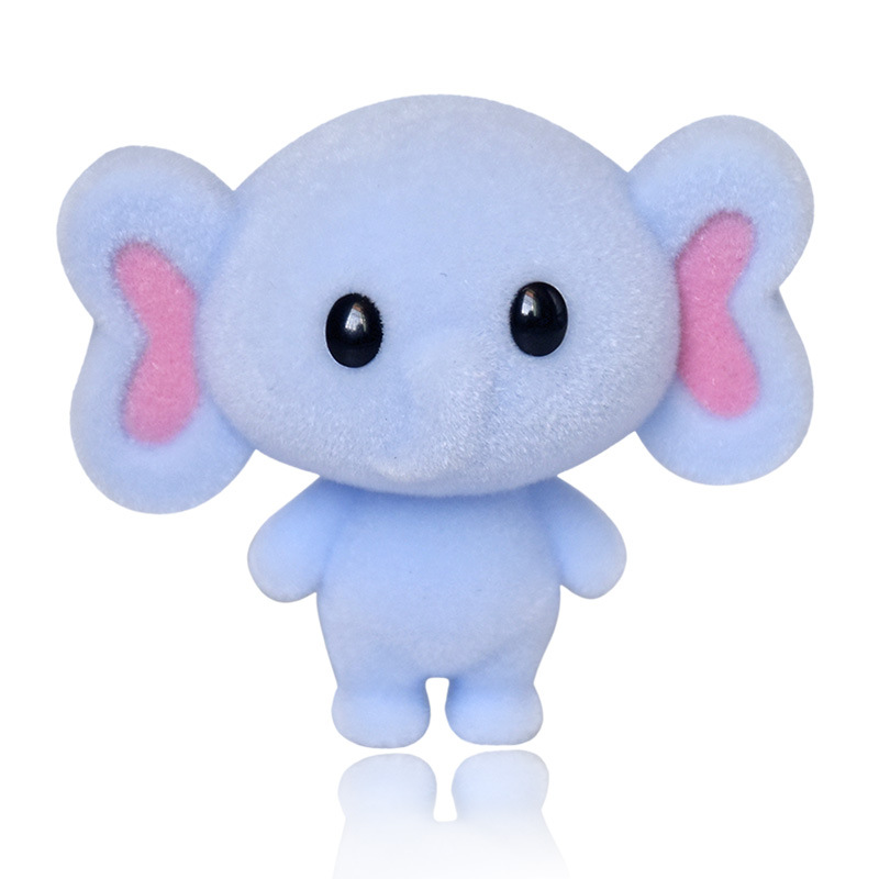 Cute Furry Elephant Flocking Doll Toys Kawaii Mini Decoration Toys For Girls Little Exquisite Animals Toys Best Christmas Gifts