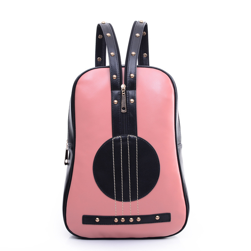 Brands New PU Backpack Rivets Preppy Style Guitar Shape Bag Mens Zipper Street School Backpack For