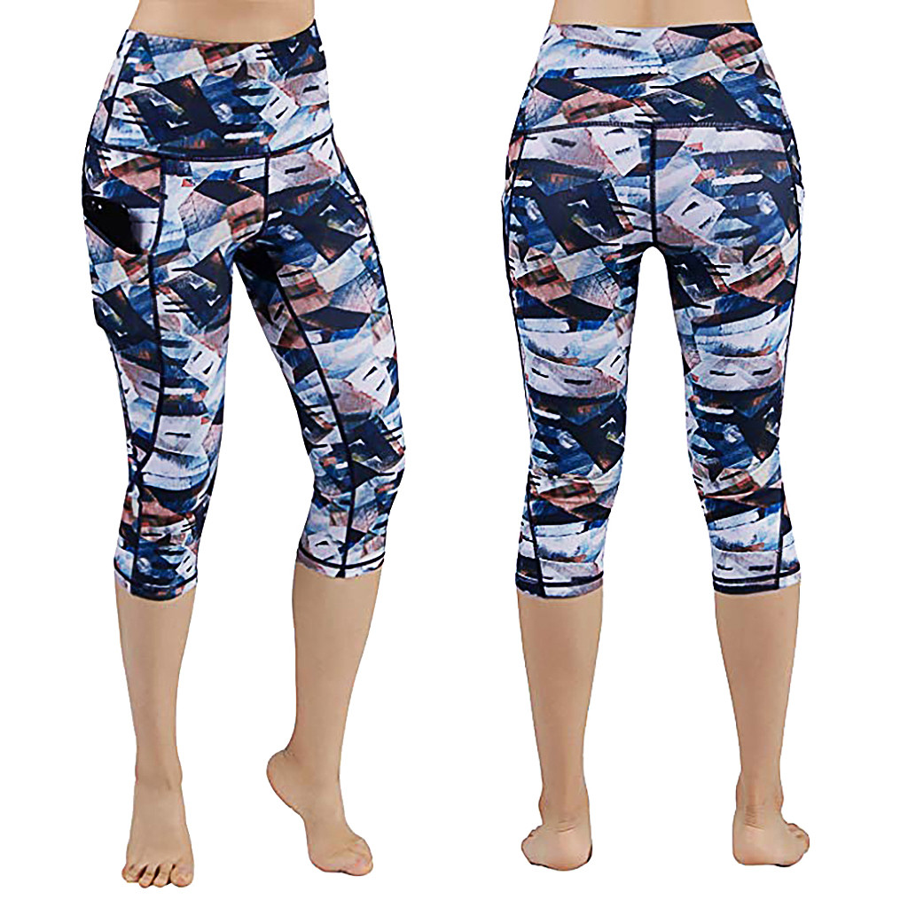 Women's Printed Pockets High Waist Hip Running Fitness Seven-point leggings Mid-Calf Breathable High Waist Sport Leggings 7.12(China)