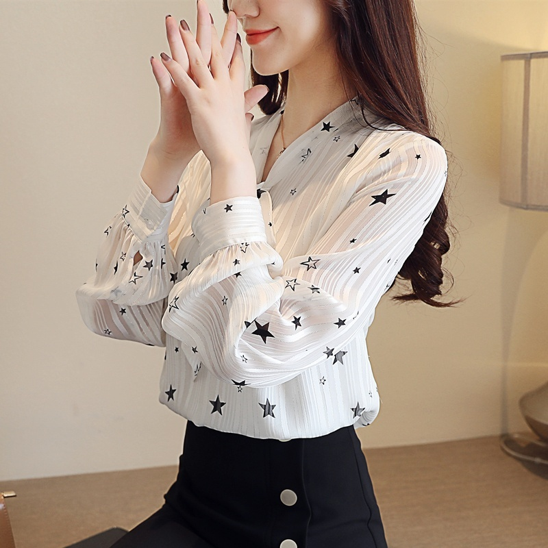 Womens Tops and Blouses Autumn Fashion Shirt Bow Loose Long Sleeve Chiffon Shirt Female Blusas in Blouses amp Shirts from Women 39 s Clothing