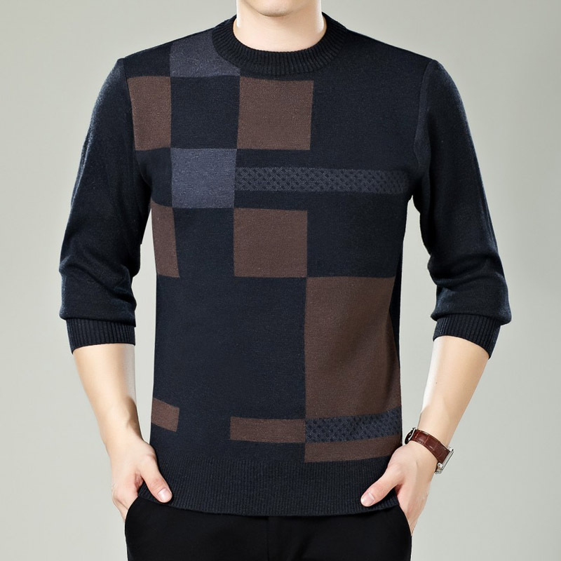 Autumn Winter Fashion Male Round-neck Woolen Knitted Sweater Men's Casual Slim Fit Pullovers Sweaters Middle-aged Men Sweater
