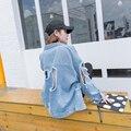 Плюс Размер SL Весна Длинным Рукавом Мода Джинсовая Куртка Джинсы Куртка Женщин негабаритных джинсовая куртка Jaqueta Джинсы feminina Куртка