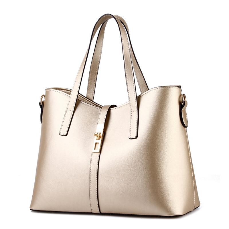 купить Cusual PU Women Handbag Elegant Office Lady Shoulder Bag Lock Crossbody Messenger Gold Color по цене 4147.63 рублей