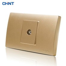 CHINT Socket Connect 118 Type Wall Switch NEW5D Steel Frame Hyun Gold A TV Panel
