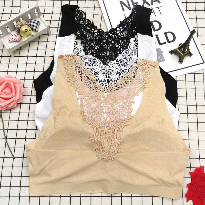 Fashion New Ice Silk Underwear Soild Soft Lingerie B Embroidery Hollow Beauty Back Padded Bra Wireless Sports Braletta For Women