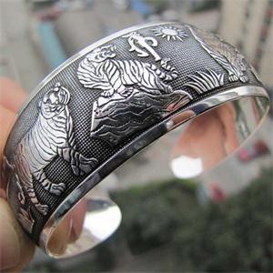 Ретро, тибетский, тибетский, белый, с принтом тигра, женский браслет на запястье, Женские винтажные браслеты, серебряные, тотемные, металличе...