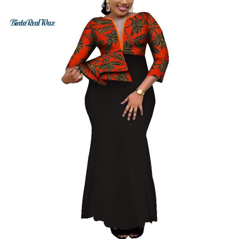 2019 Dashiki African Print Dresses For Women Bazin Riche Ankara Print Long Evening Dresses Traditional African Clothing WY4059