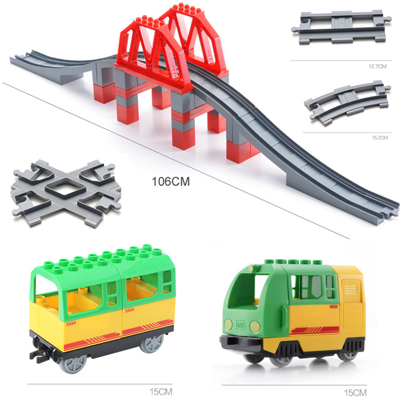 DIY Train Large Particles Building Block Compatible City Duploingly Train Track Accessories Curved Bridge Parts Bricks Toy Gift