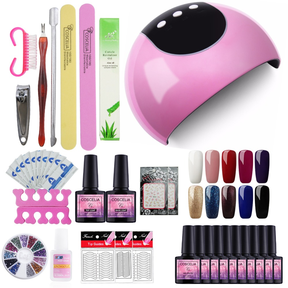 10pcs Gel Nail Polish Kit 8ML Nail Art Set For Manicure 24W Pink UV LED Lamp Nail Dryer Uv Gel Varnish Set Manicure Tool For Gel hotsale 10pcs set pink