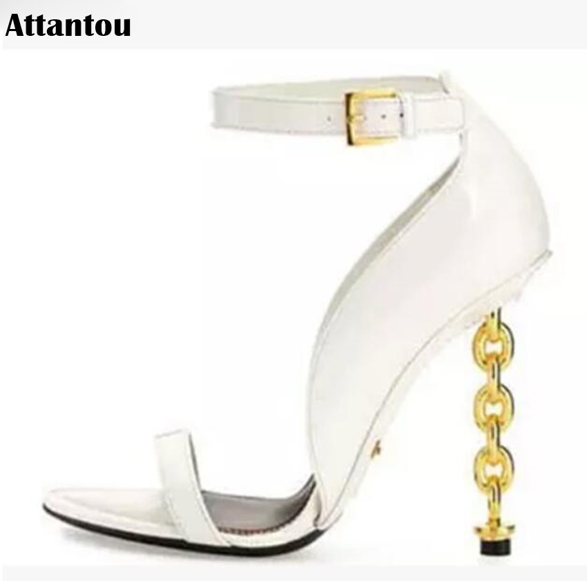 Summer fashion golden chain design heel Woman sandals metal decor peep toe high heels sexy Pumps party female dress shoes