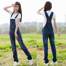 Free Shipping New Women's Denim Overalls Suspenders Jeans Rompers Jumpsuit Pants Womens Deep Blue Jumpsuit Pants