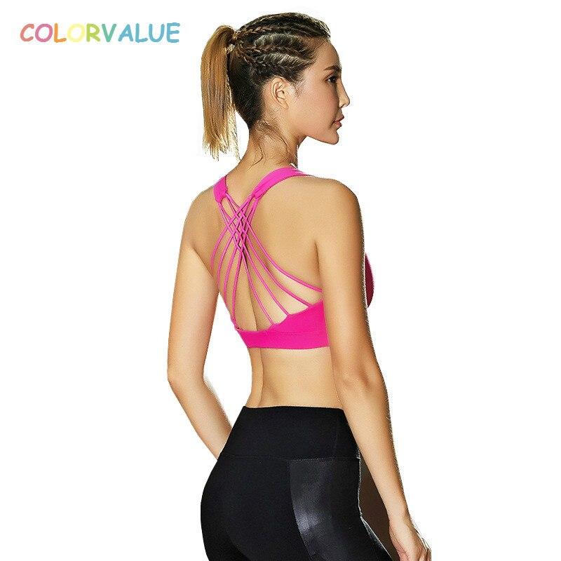 25007d912bf67 Colorvalue Anti sweat Padded Sports Bras Women Crisscross Straps Fitness  Gym Bra Push Up Sport Bra Top Pro Athletic Underwear-in Sports Bras from  Sports ...