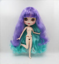 Blygirl,Purple light green bangs curl,Blyth doll, new face shell doll, 19 joint body, nude doll, can be her makeup and clothes blygirl blyth doll black curly doll no 114bl58 joint body 19 joints white body
