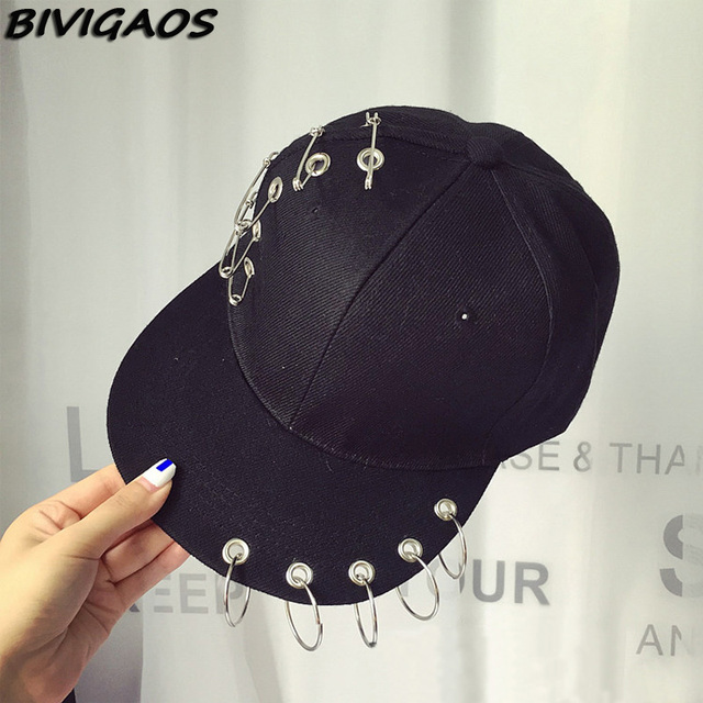 New Harajuku Tide Fahsion Pin Iron Ring Hip Hop Cap Rivet Snapback Baseball  Caps Punk Rock Style Black Hiphop Hats For Women Men 2c141e46731f