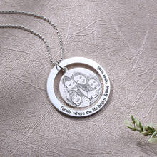 Engraved Circle Photo Necklace