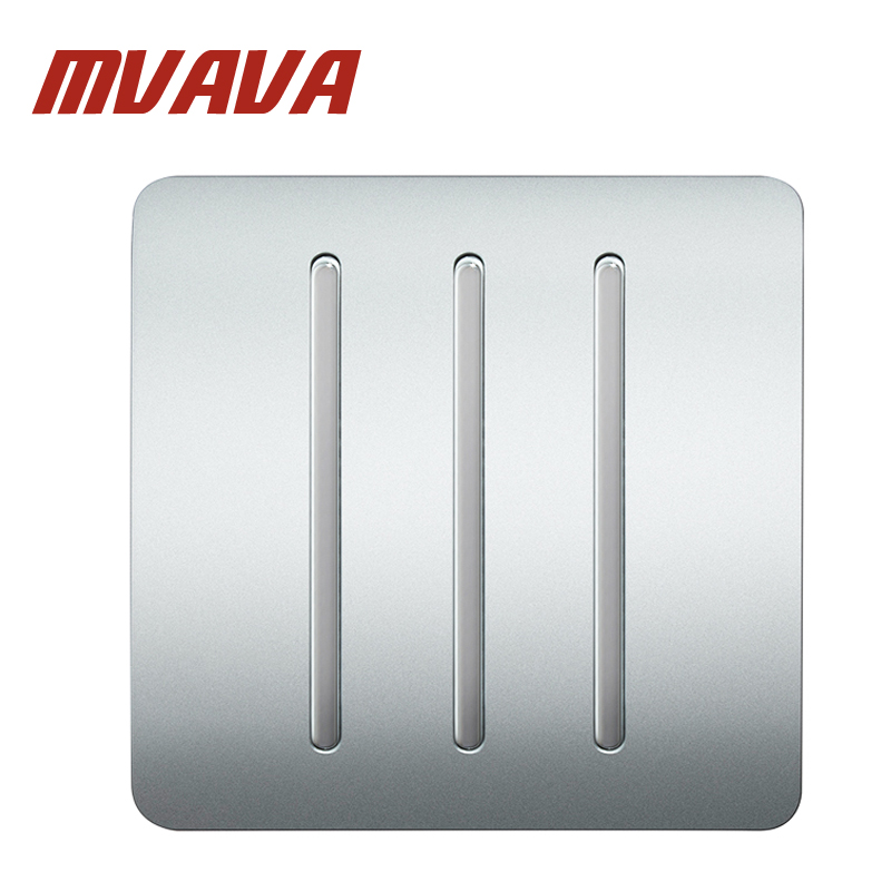 MVAVA 3 Gang 1 Way Electrical  Push Button Light Wall Switch Sliver PC Series Panel 86*86MM Home Wall Electric Switch Free Ship mvava push button light wall switch 3 gang 1 way 16a 250v luxury white crystal glass panel factory direct sale free shipping