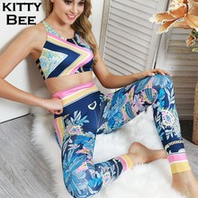 Women Fitness Set Gym Floral Print Sports Suit High Waist Yoga Sportwear Clothing Wear For