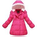 Novo 2016 Meninas de Inverno Casaco Quente Do Inverno Do Bebê Manga Longa flor Para Baixo Crianças Jaqueta de Pato Branco Para Baixo Casaco Crianças Natal Outwear
